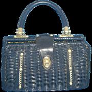 SALE Navy Blue Wicker Basket Purse Made in Hong Kong Cheri