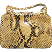 Python Skin Handbag Suede Lining Tan Brown Colors