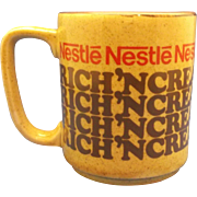 Nestle Rich 'N Creamy Hot Cocoa Pottery Mug Advertising