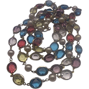 Crystal Oval Multicolor Bezel Set Necklace Faux Pearls Pink Blue Yellow Clear