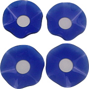 SOLD Cobalt Blue Glass Bobeches Set of Four Ruffled Candle Wax Drip Catchers