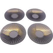 SOLD Clear Glass Gold Sunburst Pattern Bobeches Set of 4