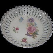 Carl Schumann Arzberg Bavaria Small Porcelain Bowl Reticulated Pierced Rim Floral Transfer