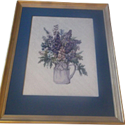 SALE Framed Floral Needlepoint Blue Purple Flowers in Pitcher