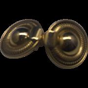 Gold Tone Circle Disc Clip Earrings Serpentine Link Rim
