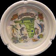 SOLD Florida Map Souvenir Ashtray Iridescent Glaze Ceramic Porcelain