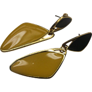 Black Yellow Enamel Triangles Gold Tone Earrings