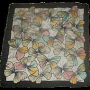 Liz Claiborne Butterflies Silk Scarf Black Border