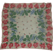 SOLD Pink Roses Cotton Lawn Handkerchief