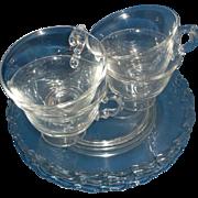 Fostoria Century Snack Set 3 Plates 4 Cups