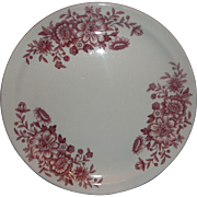 Wellsville Red Floral Restaurant Ware Plate 9 IN Dinner Plate