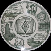 Chemung County New York Green Transferware Souvenir Plate Kettlesprings Kilns
