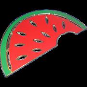 SALE Wm Rogers Silverplate Enamel Watermelon Trivet