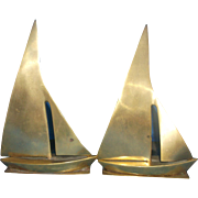 SOLD Brass Sail Boat Sailboats Yacht Bookends Pair