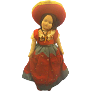Mexico Souvenir Cloth Composition Doll Girl Senorita Red Dress Sombrero Painted Face 11 IN