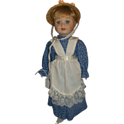 House of Lloyd Private Collection 1994 Porcelain Doll Blonde Hair Straw Bonnet Hat Blue Calico