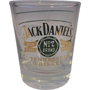 Jack Daniels No 7 Tennessee Whiskey Shot Glass Libbey Green Gold