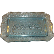 SALE Last Supper Plate Ice Blue Glass Indiana Tiara Exclusives