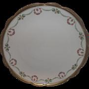 MZ Austria Moritz Zdekauer Porcelain Charger Chop Plate Pink Roses Wreath Green Flower Swags .