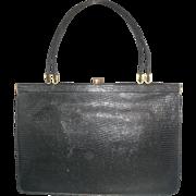 Black Lizard Skin Large Vintage Purse Handbag Green Leather Lining