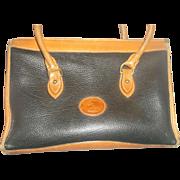 SALE Dooney & Bourke All Weather Leather Satchel Purse C. 1985 Black British Tan