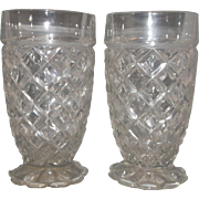 Hocking Waterford Waffle Footed Tumblers Pair Clear Depression Glass