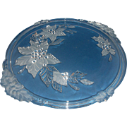 SALE Mikasa Poinsettia Crystal Cake Plate Handles Frosted Flowers
