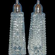 Cut Crystal Block Diamond Salt Pepper Shakers