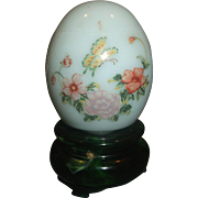 Avon Imperial Garden Egg Delicate Blossoms Flowers Butterfly Green Glass Green Base Stand