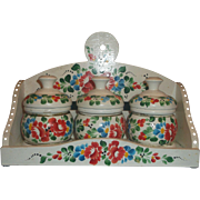 Hand Painted Bright Floral Wooden Spice Rack Three Round Jars