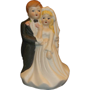 SOLD Bride Groom Wedding Cake Topper Porcelain Bisque Hand Painted Figurine Lego Taiwan - Red