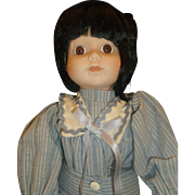 Marian Yu Porcelain Doll Black Cropped Hair Blue Sailor Suit 14 IN Limited Edition