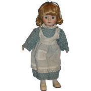 House of Lloyd Porcelain Bisque Blond Doll Blue Calico Dress 1988 13 IN