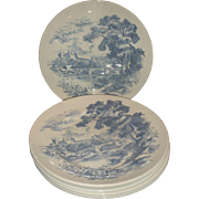 Enoch Wedgwood Countryside Blue Dinner Plates Set of 6 England Transferware Hand Engraving