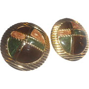 Fall Autumn Colors Enamel Plaid Gold Tone Clip Earrings Circles Discs Large