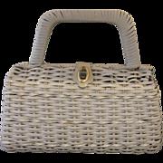 SALE Hong Kong White Wicker Leather Trim Purse Handbag