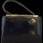 SALE Mastercraft Canada Black Patent Leather Trapezoid Purse Gold Tone Frame