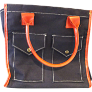 SOLD Indigo Blue Denim Canvas Tote Bag Patch Pockets Red Handles Trim Made in Japan