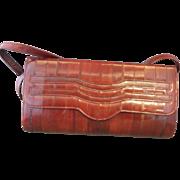 SOLD Dark Wine Red Burgundy Eelskin Convertible Clutch Purse Shoulder Bag