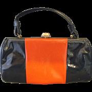 SALE Navy Blue Red Color Block Stripe Vinyl Handbag