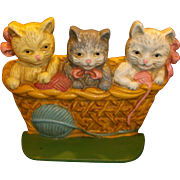 SOLD Cast Iron Painted Kittens Basket Door Stop Book End Taiwan - Red Tag Sale Item