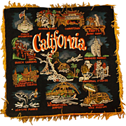 California Hand Painted Black Velvet Souvenir Pillow Case Pillow Cover 1960s Made in Japan Gol