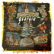 Georgia Hand Painted Black Velvet Souvenir Pillow Case Pillow Cover 1960s Made in Japan Golden