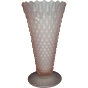 Pink Satin Frosted Glass Diamond Point Pattern Vase Indiana Glass