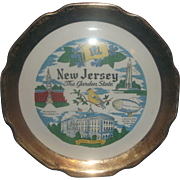 New Jersey Souvenir Plate The Garden State Gold Encrusted Scalloped Rim Crest O'Gold
