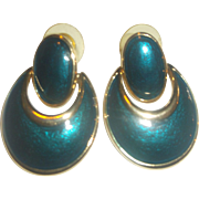 Deep Blue Green Enamel Doorknocker Oval Drop Earrings Gold Tone Post Backs