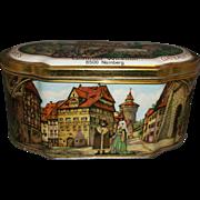 SOLD Gottfried Wicklein Nurnberger Lebkuchen Tin Casket Lithographed Medieval Scenes Fine Spic