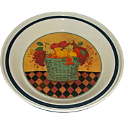 Valerie Pillow Hallmark Ceramic Pie Plate Harvest Theme Fruit Vegetable Basket