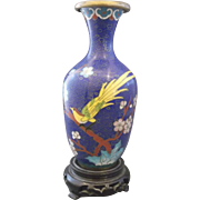 Chinese Cloisonne Brass Vase Carved Wood Stand Deep Blue Yellow Bird of Paradise Flowers 6 IN