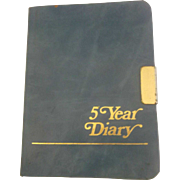Blue Leather Cover 5 Year Diary Vintage Unused